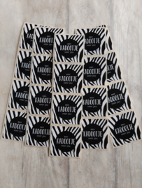 Sticker vierkant kadootje zebra - 20 stuks