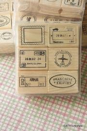 Stempels set Kawaii / houten Rubber - Journey