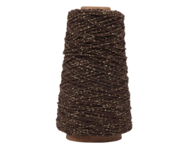 Katoen koord bruin / goud lurex | 5m