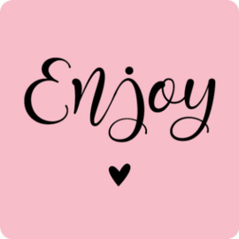 Sticker vierkant | roze enjoy - 10stk