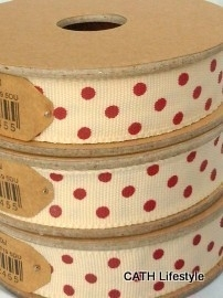 EI 3061 Band 3 meter spoel creme met rode stippen