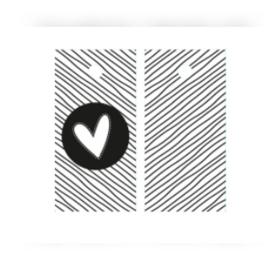 Kado label - kaartje / zwart-wit hartje / 5stk