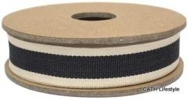 EI 3153 Band 3 meter spoel zwart met creme kanten