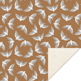Inpakpapier kadopapier - Birds cognac - 30cmx2m