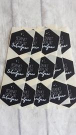 Stickers / Bedankt voor dit schooljaar / zwart hexagon /10stk