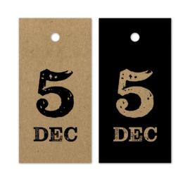 Label kraft Sint - huisjes- 5 december   5 stk