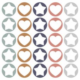 Sticker / naamlabels etiketten / ster - hart / 15 stk