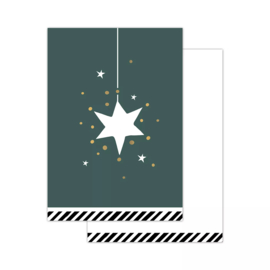 Klein kaartje - vintage kerst - ster