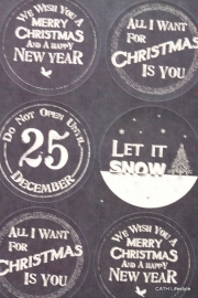 Sticker CHRISTMAS zwart wit rond / EI 1751