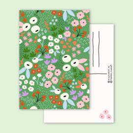 Ansichtkaart - groen bloemen