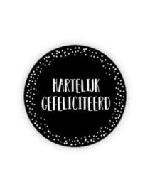 Sticker rond zwart /stip - Hartelijk Gefeliciteerd | 35mm | 10stk
