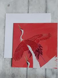 Dubbele kaart - rood met  2 kraanvogels