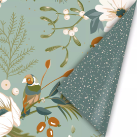 Inpakpapier kadopapier - Christmas vintage green | 30cmx2m