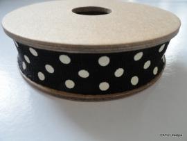 EI 3059 Band 3 meter spoel zwart met creme dots