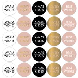 Stickers sluitzegels - kerstwensen - warm   10stk