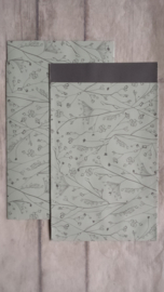 Kado zakje Japanse botanic / sage groen /  12 x 19cm / 5stk