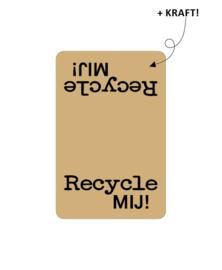 Sticker kraft rechthoekig - Rycycle mij! | 90x59mm | 20stk