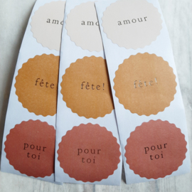 Stickers | amour - fete  - pour toi | 15 stk