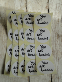 "Sticker zwart/wit tekst - ""You are Amazing"" / 20 stk"