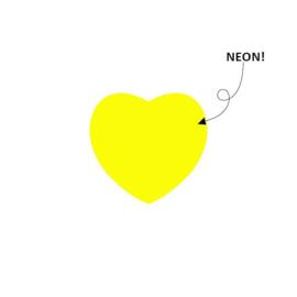 Sticker hartje neon geel | 28mm | 15stk