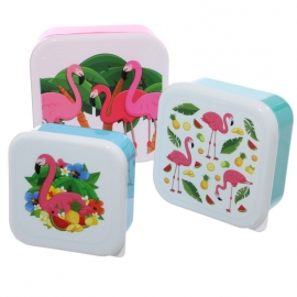 Lunchboxen set Tropische Flamingo