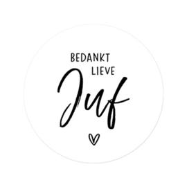 Sticker  sluitzegel rond wit - Bedankt Lieve Juf | 45mm | 10stk
