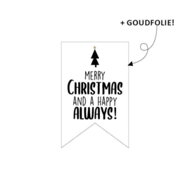 Sticker sluitzegel vaantje - merry christmas and a happy always | 10stk