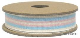 EI 3243 Band 3 meter spoel creme / roze / blue streep