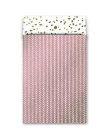 Zakje connecting dots - roze wit goud - 17x25cm - 5 stuks