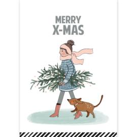 Kerstkaart | Merry X-Mas | dame