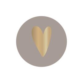 Sticker sluitzegel | warm grey hart goud folie | 35mm | 10stk