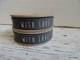 "Band |  grijs ""With Love"" | ZA 034 3 meter spoel l"