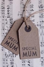 """Kartonnen label met """"SPECIAL MUM"""" / pstk / EI"""