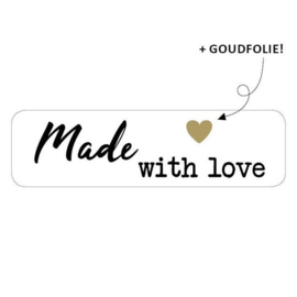 Sticker rechthoek | made with love | 15stk