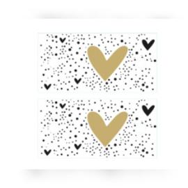 Kado label - kaartje / zwart-wit hartje goud/ 5stk