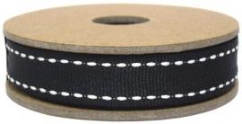 EI 3151 Band 3 meter spoel zwart band met stiksel