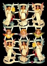 ME 7332 Poezie plaatjes engelen met kaars rozenkrans en bel