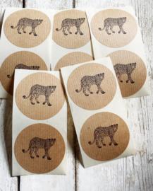Stickers - sluitzegel / kraft leopard / 10 stk
