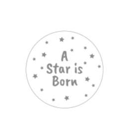 Sticker sluitzegel | rond / a star is born - zilver  / 20stk