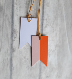 Label - tag vlag bannier duo oranje roze | pstk