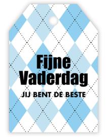 Cadeau kaartje /label - Fijne Vaderdag | blauw