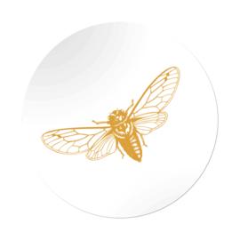 Sticker sluitzegel rond wit goud glans vlinder | 45mm | 20stk