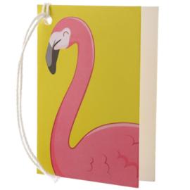 Cadeaukaartje / flamingo / pu
