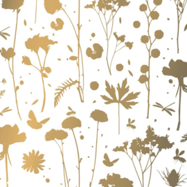 Vloeipapier - tissuepapier | grow plants silhoutte goud | 50x70cm | 5stk