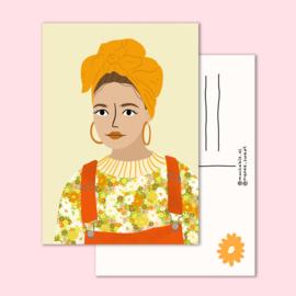 Ansichtkaart - Dame bloemen portret