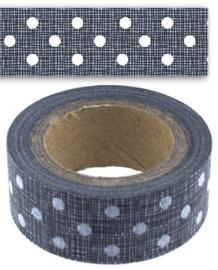 Rol paper ( masking) tape / zwart met stippen / EI 4720