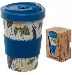 Bamboe reisbeker / Peacock bamboo cup / 400ml