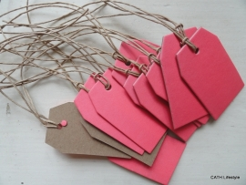Kraft tag / label neon pink medium / 10 sks
