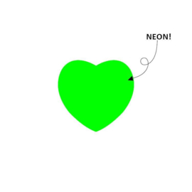 Sticker hart | neon groen | 28mm | 15stk