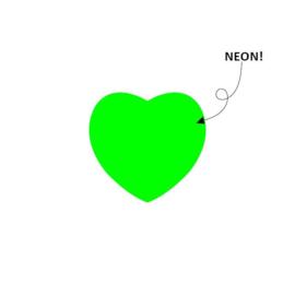 Sticker hart | neon groen | 28mm | 15stk